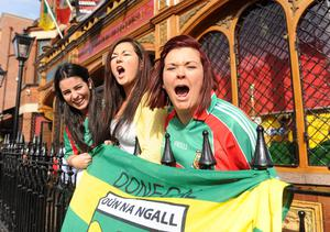 All Ireland Final - Donegal v Mayo Fans Pictures - 23rd September 2012Round - Copyright Presseye.comMandatory Credit Declan Roughan / Presseye(L-R) Tracey Donaghy from Aughabrack, Co Tyrone, Orlaith Kerlin from Aughabrack, Co Tyrone and Bronagh Conwell from Donemanna watch the All Ireland from the Hatfield Bar, Ormeau Road Belfast