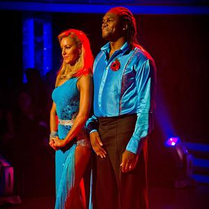 Audley Harrison and dance partner Natalie Lowe before they were voted off BBC One's Strictly Come Dancing