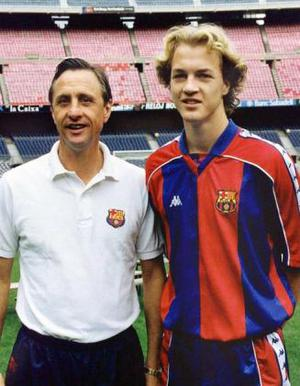<b>Johan and Jordi Cruyff</b> The thought has always lingered that had Jordi's surname been (say) Beaglehole, then his career would not have touched the dizzy heights of Barcelona and Manchester United. Johan was one of the best players ever to grace the game and a legend at Barcelona and Ajax. When dad was manager at Ajax, so Jordi was in the youth set-up there. When dad took over at Barcelona, so Jordi joined him. In truth, he was a decent player (decent enough to play for Holland) but not a superstar like his dad. And when Johan was sacked, Jordi was sold. He failed to really establish himself at United and returned to Spain to play for Alaves and Espanyol. He is now in management in Malta.