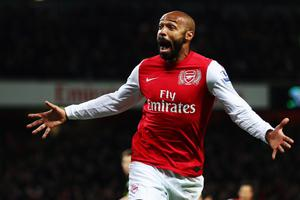 LONDON, ENGLAND - JANUARY 09:  Thierry Henry of Arsenal celebrates scoring during the FA Cup Third Round match between Arsenal and Leeds United at the Emirates Stadium on January 9, 2012 in London, England.  (Photo by Clive Mason/Getty Images)
