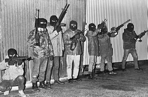 INLA Gunmen pictured on Border Patrol with new automatic guns. 19/11/86