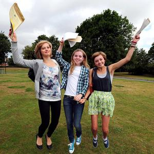 Pupils from West Bridgeford School in Nottingham celebrate after discovering their exam results