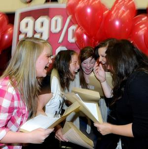 Students from Emmanuel College, Gateshead, celebrate their results