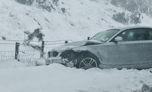 A car which was involved in an accident on the Glenshane Pass on   as heavy snow played havoc on the roads in teh North West.  30.3.10