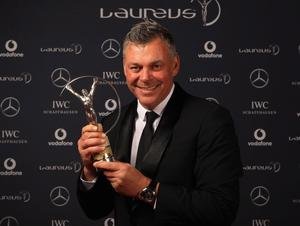 LONDON, ENGLAND - FEBRUARY 06:  Darren Clarke of Britain the Laureus World Comeback of Year Winner poses in the Winners Studio during the 2012 Laureus World Sports Awards at Central Hall Westminster on February 6, 2012 in London, England.  (Photo by Tom Shaw/Getty Images for Laureus)