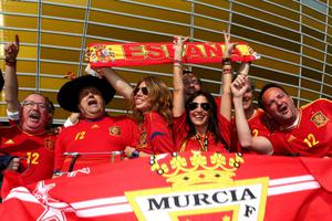 GDANSK, POLAND - JUNE 10:  Spanish fans soak up the atmopshere ahead of the UEFA EURO 2012 group C match between Spain and Italy at The Municipal Stadium on June 10, 2012 in Gdansk, Poland.  (Photo by Michael Steele/Getty Images)