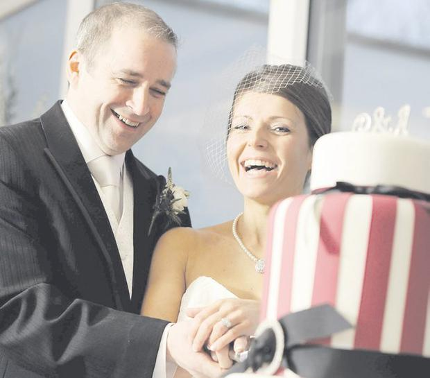 """Philip and Alison Cosgrove on their wedding day <p><b>To send us your Wedding Pics <a  href=""""http://www.belfasttelegraph.co.uk/usersubmission/the-belfast-telegraph-wants-to-hear-from-you-13927437.html"""" title=""""Click here to send your pics to Belfast Telegraph"""">Click here</a> </a></p></b>"""