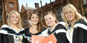 Queen's University Belfast Graduations. Lynne Phillips, Paula Browne, Alison Johns and Ciara Boyle who all graduated in Criminology