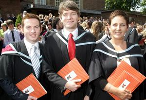 Queen's University Belfast Graduations Simon Darby, Tim Wilson and Kate Harrison who all graduated in Social Work