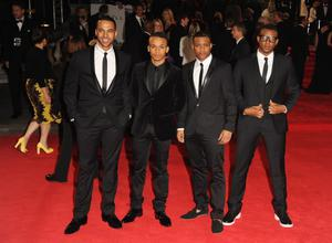 LONDON, ENGLAND - OCTOBER 23: Music group JLS (L-R) Marvin Humes, Aston Merrygold, J.B. Gill and Oritse Williams attend the Royal World Premiere of 'Skyfall' at the Royal Albert Hall on October 23, 2012 in London, England.  (Photo by Eamonn McCormack/Getty Images)