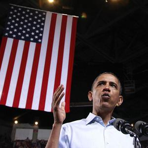 US President Barack Obama speaks during a campaign rally in Ohio at the start of his re-election campaign (AP)