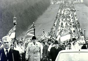 Ian Paisley demonstrates at Stormont in 1981