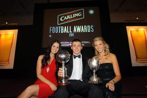 Crusaders Stuart Dallas was awarded the Carling Player of the Year at the Carling Northern Ireland Football Writers star-studded Annual Banquet last night at the Europa Hotel, Belfast