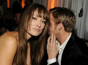 BEVERLY HILLS, CA - JANUARY 16:  Actors Olivia Wilde (L) and Ryan Gosling attend Relativity Media and The Weinstein Company's 2011 Golden Globe Awards After Party presented by Marie Claire held at The Beverly Hilton hotel on January 16, 2011 in Beverly Hills, California.  (Photo by Frazer Harrison/Getty Images for Relativity Media)
