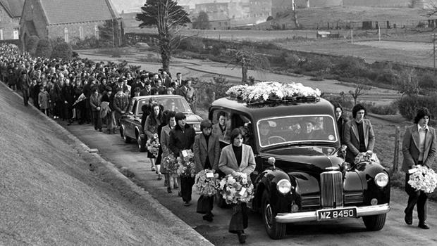 Funeral courtege of Kathleen Feeney, 14,  who was shot dead by an IRA gunman in Londonderry in a failed ambush on British troops. November 1973