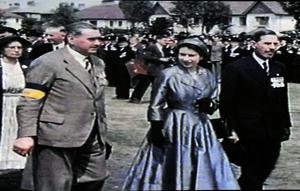 The Queen pictured with Colonial McVicker, British Legion (left) and Sir Norman Stronge, Speaker of the Northern Ireland House of Commons (right) at Balmoral Showground during her three day State Visit to Northern Ireland in July 1953.