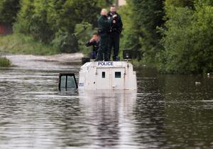 Police stranded in Belfast. June 2012