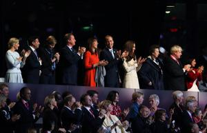 LONDON, ENGLAND - AUGUST 29:  (L-R) LOCOG chairman Lord Sebastian Coe,  Nicola  Coe, British Prime Minister David Cameron, Samantha Cameron, Prince William, Duke of Cambridge and Catherine, Duchess of Cambridge, Princess Anne, Princess Royal and London Mayor Boris Johnson and his wife Marina Wheeler applaud during the Opening Ceremony of the London 2012 Paralympics at the Olympic Stadium on August 29, 2012 in London, England.  (Photo by Chris Jackson/Getty Images)