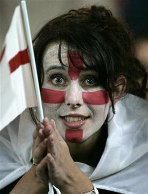 An England's fan reacts before the Rugby World Cup Group A match between England and Tonga at the Parc des Princes stadium in Paris, Friday Sept.28, 2007.