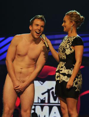 BELFAST, NORTHERN IRELAND - NOVEMBER 06:  Actress Hayden Panettiere (R) and naked guest speak onstage during the MTV Europe Music Awards 2010 live show at at the Odyssey Arena on November 6, 2011 in Belfast, Northern Ireland.  (Photo by Dave Benett/Getty Images)