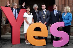 The Mayor of Derry, Councillor Colum Eastwood, with guests at the Guildhall to celebrate the city's success in winning the UK City of Culture 2013. Included, from left, are Secretary of State Owen Paterson, Valerie Watts, Ton Clerk and City Council Chief Executive, playwright Phil Redmond, chairman of the judging panel, Ed Vaizey, Minister for Culture, Communications and Creative Industries and Aideen McGinley, chief executive ILEX