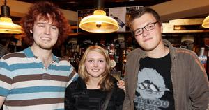 At Lavery's Bar in Belfast   Aaran Tiner, Laura Ramsey and Conor Wincombe