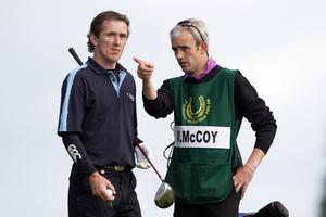 Tony McCoy with his caddie and fellow jockey Ruby Walsh during the first round of The JP McManus Invitational Pro-Am event at the Adare Manor Hotel and Golf Resort on July 5, 2010 in Limerick