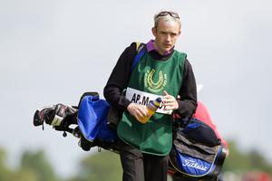 Jockey Ruby Walsh who caddied for his fellow jockey Tony McCoy during the first round of The JP McManus Invitational Pro-Am event at the Adare Manor Hotel and Golf Resort on July 5, 2010 in Limerick