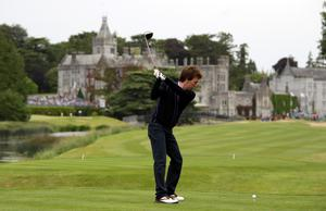 Ken Doherty, snooker player, in action during the second round of The JP McManus Invitational Pro-Am event at the Adare Manor Hotel and Golf Resort on July 6, 2010 in Limerick