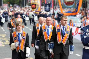12/7/11 Mandatory Credit Darren Kidd/Presseye.com Orangemen take part in Twelfth of July parades as they make their way to the field at Shaws Bridge, Belfast.The parade makes its way along the Lisburn Rd,   LOL1064
