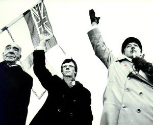 Ian Paisley:Democratic Unionist Party (DUP),with fellow DUP MP's John McQuade ans Peter Robinson, wave to the crowd at Stormont gates. 23/11/1981