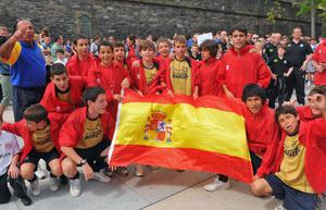 The CET football team from Spain . Picture Martin McKeown.