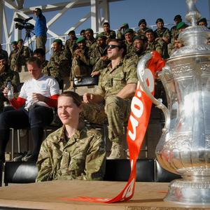 Stuart Pearce visits troops in Camp Bastion, Afghanistan, with the FA Cup (CPL Mark Webster/MoD Crown Copyright/PA Wire)