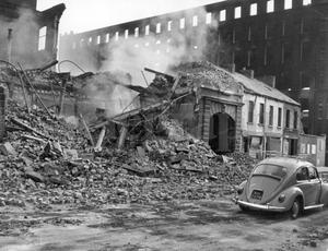 Riots : Belfast. August 1969.  Buildings reduced to rubble in the riots on the Falls Road in Belfast.  19/8/
