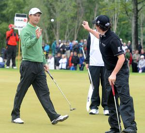 Padraig Harrington and Rory McIlroy on the 4th hole at the Lough Erne Golf Challenge