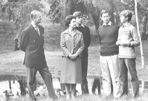 THE ROYAL FAMILY AT BALMORAL CASTLE ON THE OCCASION QUEEN ELIZABETH II AND PRINCE PHILIP'S 32ND WEDDING ANNIVERSARY