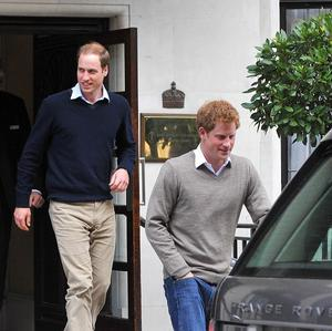 The Duke of Cambridge and Prince Harry leave the King Edward VII Hospital in central London after visiting the Duke of Edinburgh