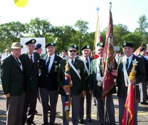 This is a photo of the 36th Ulster Division Old Comrads Assoc in Toronto. They have been in existance for 80 years. Each year, the Canadian National Exibition in Toronto hold a parade to honour the Veterans - it is call the Warriors Day Parade. The group of men walk each year. Most of the men in the photo are from N.Ireland. This year we had 11 walk - 7 men and 4 women. Included in the group is my Father Bill Robinson - 2nd from the left - who is 98. His father was killed at the Somme. For many years representatives of this group went to Belfast on the July 1 - to place a wreath on the Cenetaphe -at the City Hall. I hope you will be able to print this in a copy of the Telegraph. Thanks - Helen Taylor