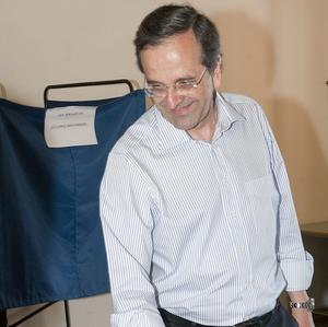 New Democracy, under Antonis Samaras, has topped the Greek polls, but without an absolute majority (AP)