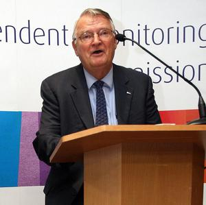 Ex Deputy Director of the Central Intelligence Agency Dick Kerr at a press conference announcing the end of the Independent Monitoring Commission