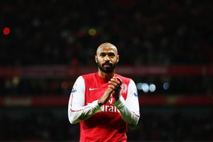 LONDON, ENGLAND - JANUARY 09:  Thierry Henry of Arsenal celebrates at the end of the FA Cup Third Round match between Arsenal and Leeds United at the Emirates Stadium on January 9, 2012 in London, England.  (Photo by Clive Mason/Getty Images)
