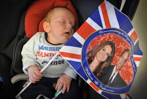 """©Russell Pritchard / Presseye  29th April 2011Street Parties held for the Royal Wedding in East Belfast Cregah Estate  5 week old Sebastian Vannon with his t-shirt that reads """"Mummys handsome little Prince""""©Russell Pritchard / Presseye"""