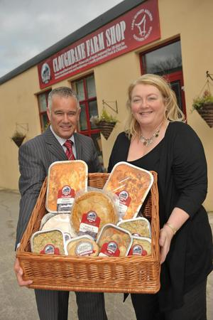 Invest NI food director Maynard Mawhinney announced the expansion of Cloughbane Farm Foods during a visit to the company, where he met the owner Lorna Robinson