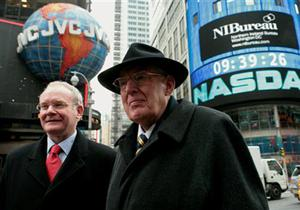 Northern Ireland First Minister Ian Paisley, right, and Deputy First Minister Martin McGuinness in New York after they rang the opening bell, Wednesday Dec. 5, 2007