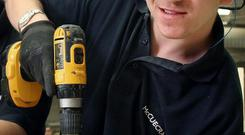 New apprentice: Chris Sargeant, from Newtownabbey, has already undertaken preliminary training with McCue Fit-Out