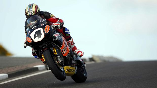 Superbike rider John McGuinness pictured at the opening practice night of the 2010 Relentless North West 200