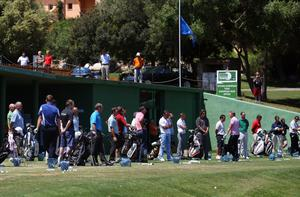 MALLORCA, SPAIN - MAY 11:  Golfers observe a minutes silence on the driving range to tribute spanish golfing legend Seve Ballesteros on the day of his funeral during the ProAm of the Iberdrola Open at Pula Golf Club on May 11, 2011 in Mallorca, Spain.  (Photo by Julian Finney/Getty Images)