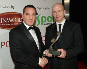 Brendan Rodgers being presented with his Manager of the year award by Peter Canavan. 2011 Linwoods and Sport Northern Ireland Belfast Telegraph Sports Awards at the Ramada Hotel, Belfast.