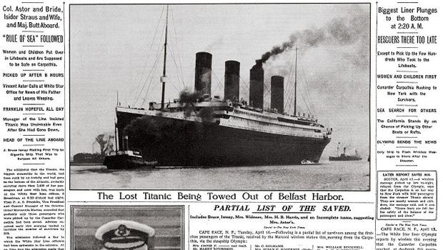 The New York Times front page on April 16, 1912, covering the sinking of the Titanic (AP/The New York Times)