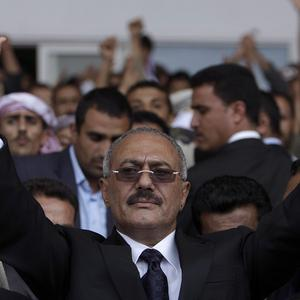 Yemeni President Ali Abdullah Saleh before the attack that seriously wounded him( AP)